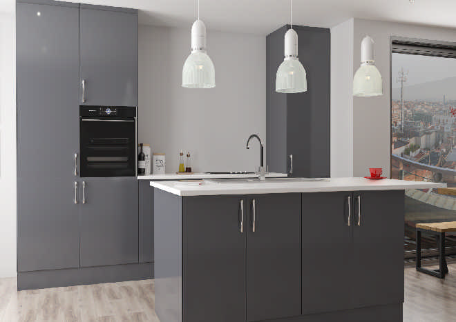 modern kitchen, dark grey cabinet doors, pale woodgrain flooring