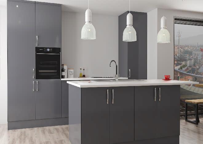 modern kitchen, dark grey cabinet doors, pale woodgrain flooring